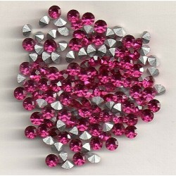 50 STRASS ROND A CULOT PP31 - 3,8 MM FUCHSIA CULOT ARGENT