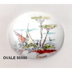 VINTAGE - RARE - OVAL PORCELAIN PLATE 60/50 COTE D'AZUR DECORATION