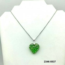 UNIQUE EMERALD crystal heart pendant, silver leaf inclusion on chain