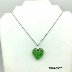 UNIQUE EMERALD crystal heart pendant, silver leaf inclusion on chain