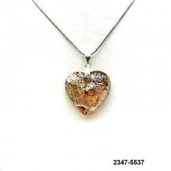 UNIQUE Pendentif coeur en cristal rose inclusion feuille d'argent sur chaine