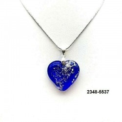 UNIQUE Sapphire crystal heart pendant with silver leaf inclusion on chain