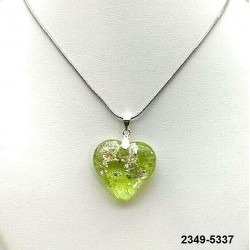 UNIQUE Heart pendant in absinthe crystal inclusion silver leaf on chain