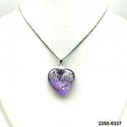 UNIQUE Lilac crystal heart pendant with silver leaf inclusion on chain