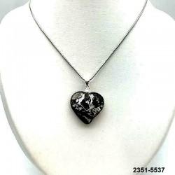 UNIQUE Pendentif coeur en cristal améthyste inclusion feuille d'argent sur chaine