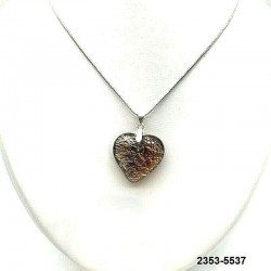UNIQUE Topaz crystal heart pendant with silver leaf inclusion on chain