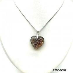 UNIQUE Pendentif coeur en cristal topaze inclusion feuille d'argent sur chaine