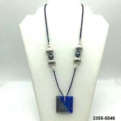 SQUARE BLUE AVENTURINE GLASS PENDANT NECKLACE
