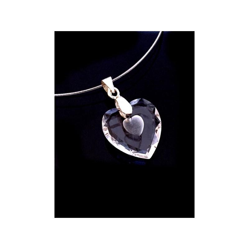 Collier Pendentif Coeur Cristal