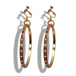 LARGE CREOLE STRASS RED CRYSTAL CLIPS OR PIERCED EARS