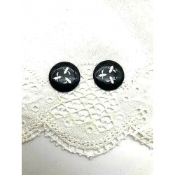 PAIR OF EARRINGS CLIPS ROUND EMAIL GRAND FEU BLACK