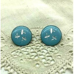 PAIR OF EARRINGS CLIPS ROUND ENAMEL BIG FIRE SKY BLUE