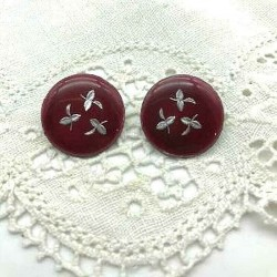 PAIR OF ROUND CLIPS EMAIL GRAND FEU BORDEAUX EARRINGS