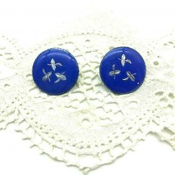 PAIR OF EARRINGS CLIPS ROUND EMAIL GRAND FEU BLUE