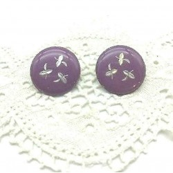 PAIR OF EARRINGS CLIPS ROUND EMAIL GRAND FEU PURPLE