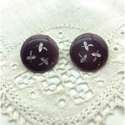 PAIR OF EARRINGS CLIPS ROUND EMAIL GRAND FIRE DARK PURPLE