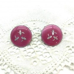 PAIR OF ROUND CLIPS EMAIL GRAND FEU PINK EARRINGS