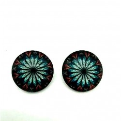PAIR OF ROUND CLIPS EARRINGS IN STAINED GLASS PATTERN
