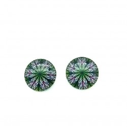 PAIR OF ROUND CLIPS EARRINGS WITH STAINED GLASS PATTERN