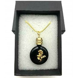 MINIATURE PERFUME PENDANT SHAPE BLACK FLAT WATCH ROSE GOLD DECORATION