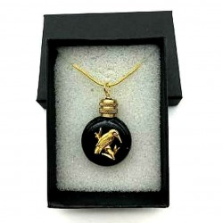 MINIATURE PERFUME PENDANT SHAPED FLAT BLACK WATCH DECOR PETIT PINSON GOLD