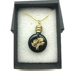 MINIATURE PERFUME PENDANT SHAPED FLAT WATCH BLACK BOUQUET GOLD