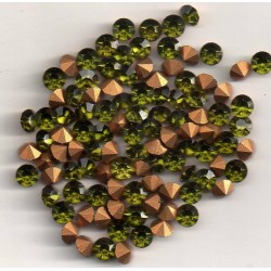 50 ROUND STRASS A CRYSTAL SS19 - 4.4 - 4.5 MM OLIVINE