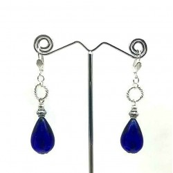 BLUE GLASS PEAR PENDANT EARRINGS