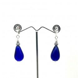 BLUE GLASS PEAR PENDANT EARRINGS