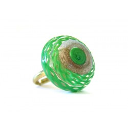 Murano crystal ring and molten glass