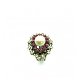 OLD RUBY FUCHSIA CRYSTAL RING AND PEARL ADJUSTABLE RING