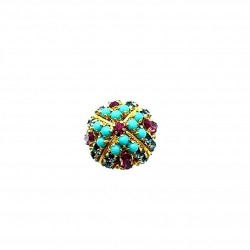 ANCIENT FUCHSIA TURQUOISE AND SAPPHIRE RING ADJUSTABLE RING