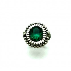 OLD RING EMERALD GREEN STRASS ADJUSTABLE RING