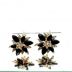 MAGNIFICENT BLACK STRASS CLIPS EARRINGS JEWELERY WAY
