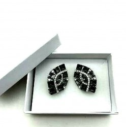 MAGNIFICENT EARRINGS CLIPS GRAY STRASS JEWELERY WAY