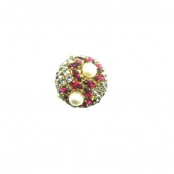 OLD STRASS ROUND SHAPED RING FUCHSIA CRYSTAL AND PEARL ADJUSTABLE RING