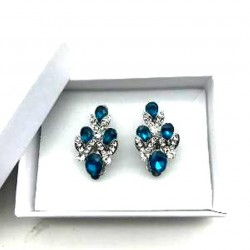 MAGNIFICENT EARRINGS CLIPS STRASS TURQUOISE CRYSTAL JEWELERY WAY