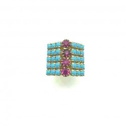ANCIENT SQUARE STRASS RING IN TURQUOISE CRYSTAL TIP ADJUSTABLE RING