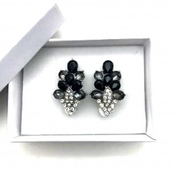 MAGNIFICENT EARRINGS CLIPS STRASS GRAY BLACK JEWELERY WAY