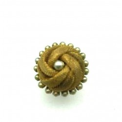 RING OLD SHAPE CABOCHON CHAIN AND PEARL ADJUSTABLE RING