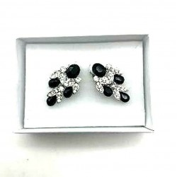 MAGNIFICENT EARRINGS CLIPS STRASS BLACK CRYSTAL JEWELERY WAY