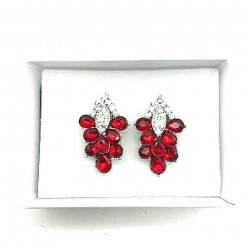 MAGNIFICENT JEWELERY RUBY STRASS CLIPS EARRINGS