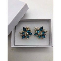 MAGNIFICENT JEWELRY-WAY STRASS TURQUOISE CLIPS EARRINGS