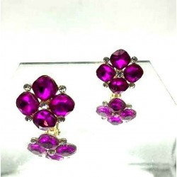 MAGNIFICENT FUCHSIA STRASS CLIPS EARRINGS WITH GOLD JEWELERY