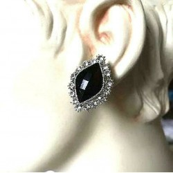 MAGNIFICENT EARRINGS CLIPS OVAL BLACK STRASS JEWELERY WAY RODHIE