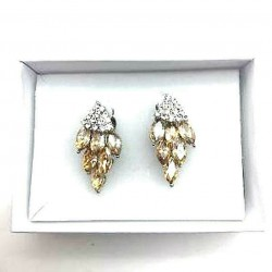 MAGNIFICENT EARRINGS CLIPS OVAL STRASS TOPAZ WAY JEWELERY RODHIE
