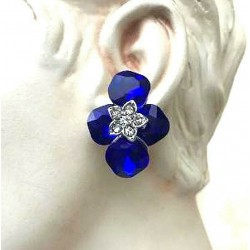 MAGNIFICENT EARRINGS CLIPS OVAL STRASS SAPPHIRE WAY JEWELERY RODHIE
