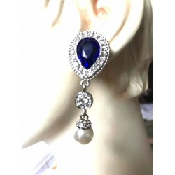 MAGNIFICENT EARRINGS CLIPS PENDANT STRASS SAPPHIRE JEWELERY WAY