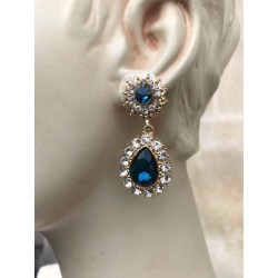 MAGNIFICENT EARRINGS PENDANT CLIPS STRASS TURQUOISE GOLD FINISH