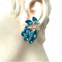 MAGNIFICENT OVAL STRASS TURQUOISE CLIPS EARRINGS WITH GOLD JEWELERY